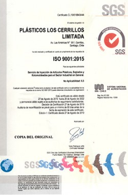 CERTIFICADO DE ISO 2015